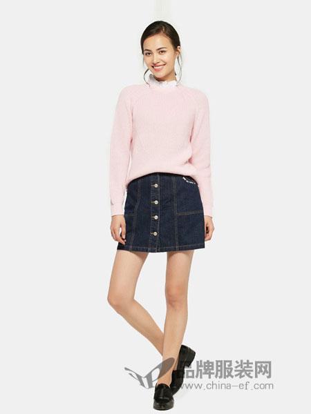 艾格周末女装2018秋冬新款时尚高领羊绒毛衣长袖毛衫