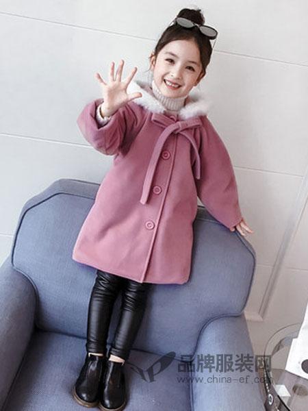 黑尼木木童装2018冬季中长款呢子女孩呢大衣