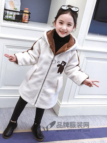 黑尼木木童装2018冬季气小女孩儿童中长款加绒加厚大衣