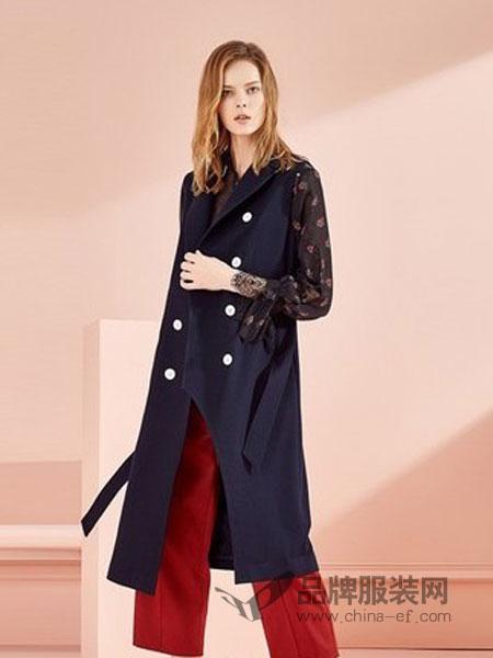 茜可可女装2018秋冬新款气质翻领刺绣呢子外套中长款双排扣毛呢大衣