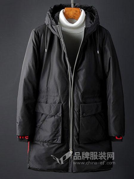 奥辉男装2018秋冬白鸭绒修身中长款防风保暖外套