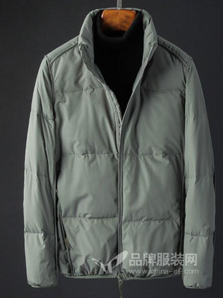 奥辉男装2018秋冬保暖外套纯色加厚羽绒棉服