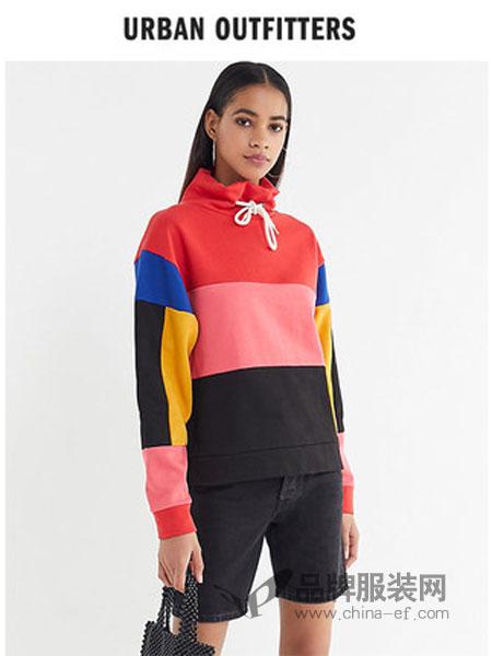 Urban Outfitters男装2018秋冬复古彩色色块拼接高领休闲套头衫