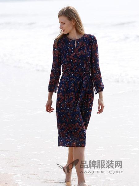 阿菁娜女装2018秋冬新款中长款雪纺宽松连衣裙简约长袖圆领一步裙
