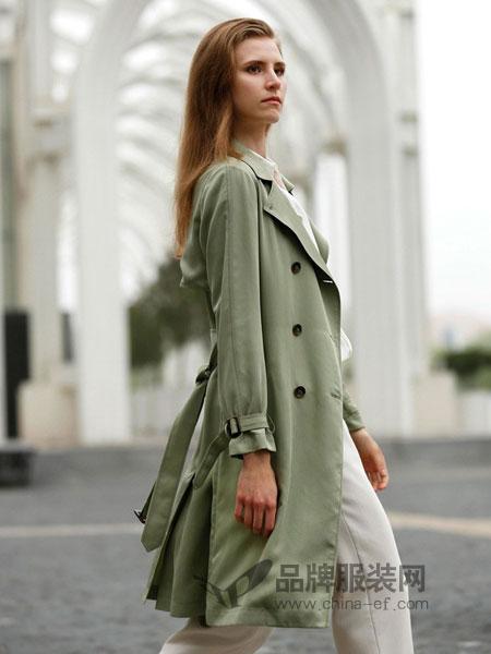 阿菁娜女装2018秋冬新款时尚英伦风衣外套女中长款高腰修身百搭双排扣