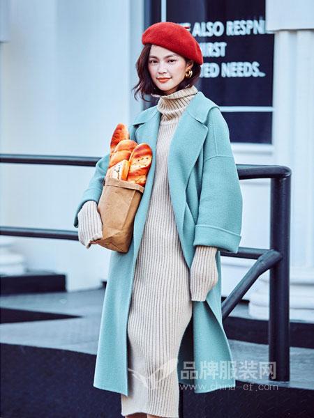可可赛琳纳CoCoCELINA女装2018秋冬羊绒大衣 中长款宽松双面呢羊毛呢外套