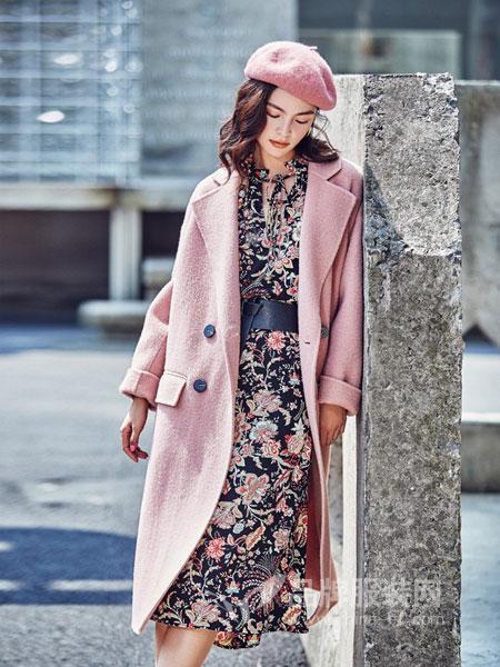 可可赛琳纳CoCoCELINA女装2018秋冬中长款百搭收腰羊绒外套系带双面羊毛呢子