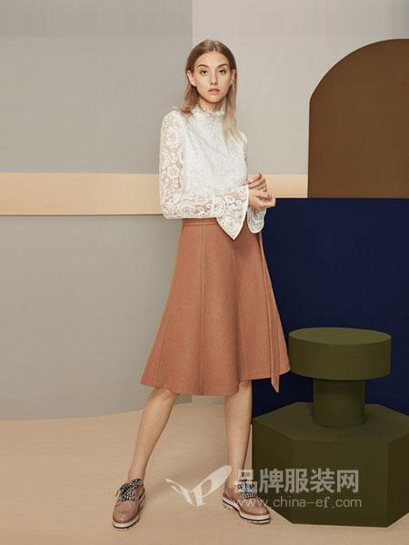 摩奥女装2018秋冬韩版修身显瘦钉珠荷叶领长袖打底裙