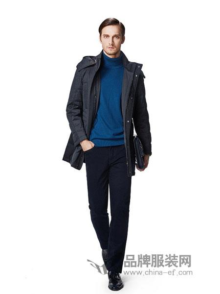 卡利斯特男装2018秋冬男士中长款束腰连帽拉链羽绒服