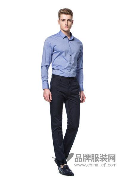 卡利斯特男装2018秋冬方领商务休闲修身棉质长袖衬衫