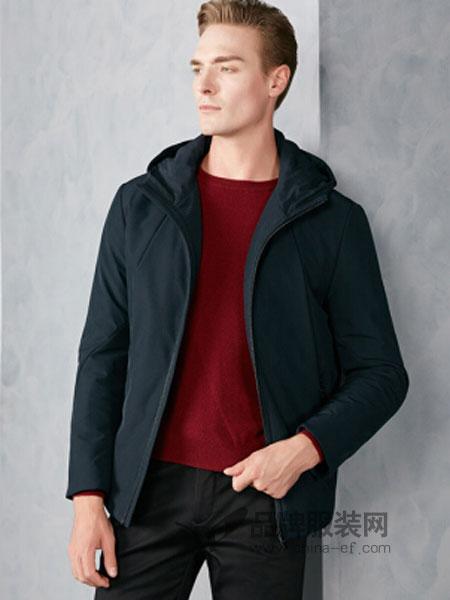 杉杉男装2018秋冬纯色连帽含驼毛保暖棉衣男士外套
