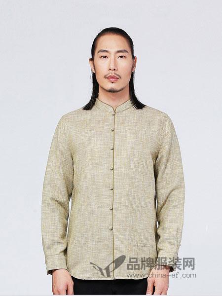 来龙男装2018秋冬中国风衬衫男士长袖上衣原创中式绣花盘扣