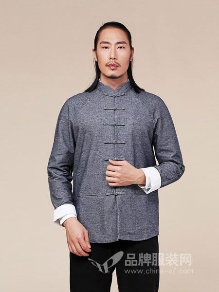 来龙男装2018秋冬盘扣外套中式唐装长袖夹克衫中青年立领