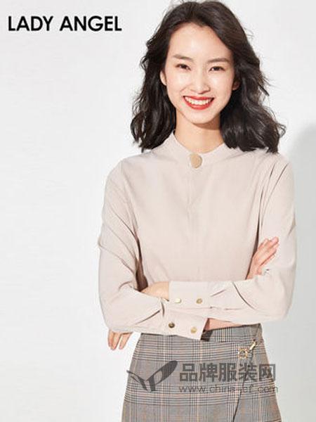 Lady Angel女装女装2018秋冬立领长袖衬衫素色合体简约上衣