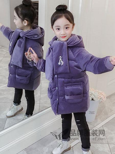 贝可欣童装2018秋冬金丝绒紫色中长款棉服