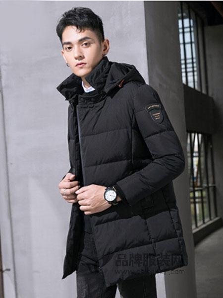 KM男装男装2018秋冬90%白鸭绒连帽保暖长款男士羽绒服