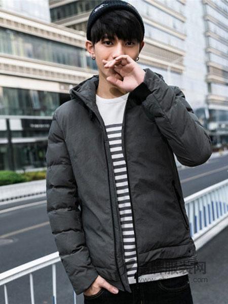 KM男装男装2018秋冬连帽外套时尚休闲简约保暖男士棉衣