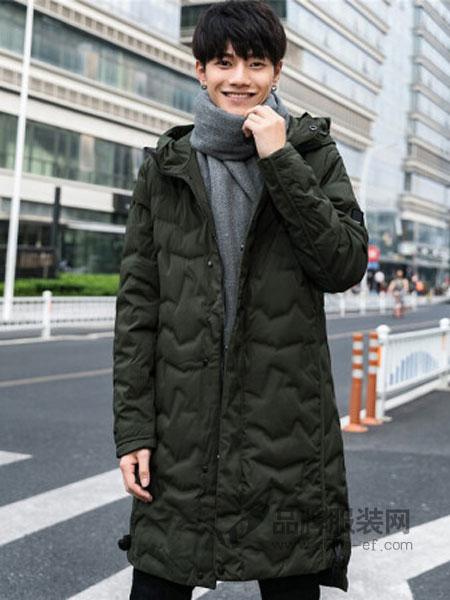 KM男装男装2018秋冬中长款连帽时尚保暖纯色90%白鸭绒