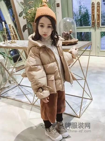 思薇希sweecy/朗尼熊童装2018秋冬连帽加绒棉服