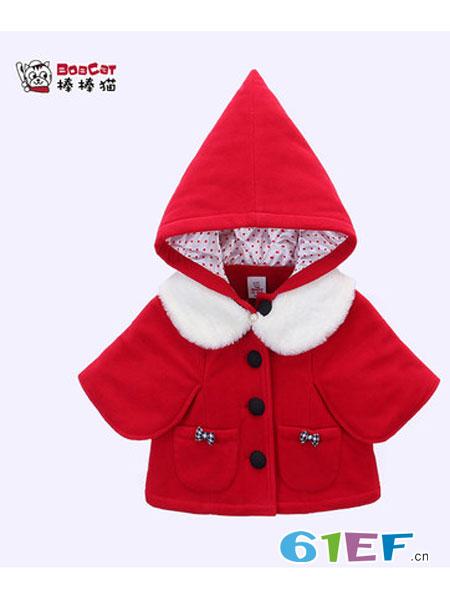 棒棒猫童装2018秋冬红色喜庆时尚洋气圣诞公主外套