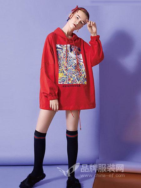 T.S.seoagain女装2018秋冬潮长袖民族风套头卫衣上衣