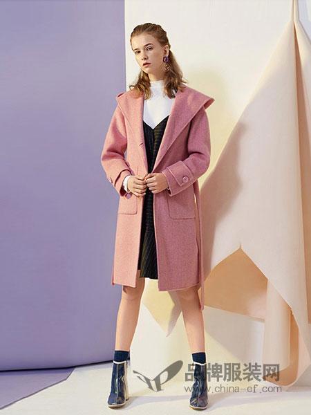 T.S.seoagain女装2018秋冬毛呢外套英伦风中长款修身妮子大衣连帽