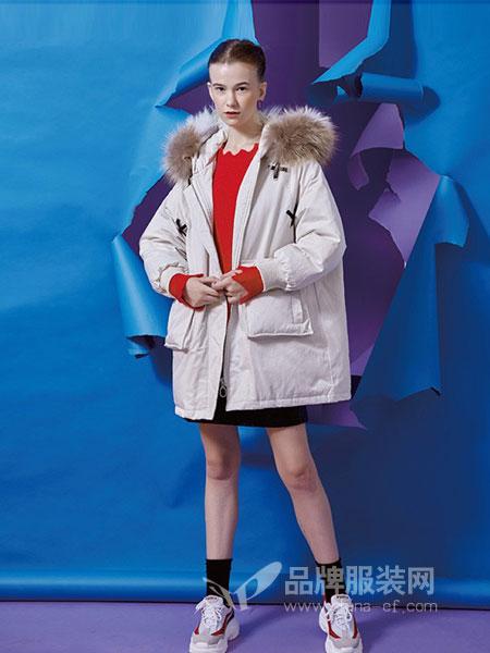 T.S.seoagain女装2018秋冬新款宽松外套加厚韩版中长棉衣