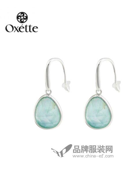 oxette饰品小绿色椭圆耳环