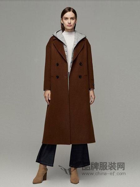 玛丽安玛丽女装2018秋冬新款呢大衣长款过膝双排扣翻领含羊毛毛呢外套