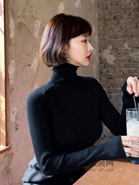 IMVELY女装2018秋冬高领套头紧身显瘦竖条纹打底衫