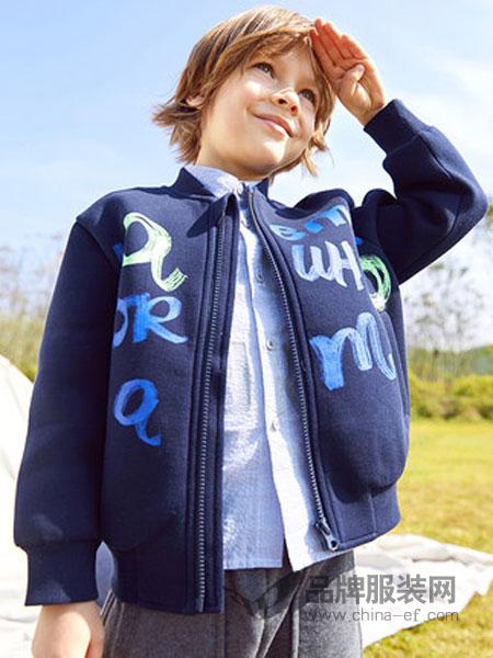 马·拉丁童装2019春季字母印花加厚廓形外套