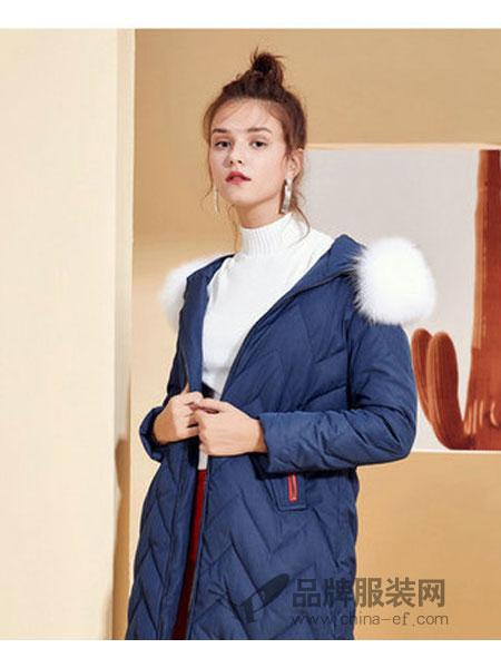 西纳维思女装2018秋冬中长款韩版白鸭绒狐狸毛毛领外套