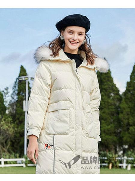 西纳维思女装2018秋冬90%白鸭绒貉子毛领中长外套