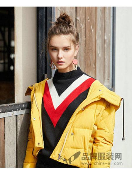 西纳维思女装2018秋冬抽绳连帽短款羽绒服长袖百搭显瘦外套