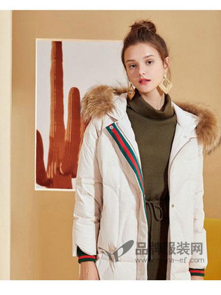 西纳维思女装2018秋冬时尚貉子毛领保暖羽绒外套