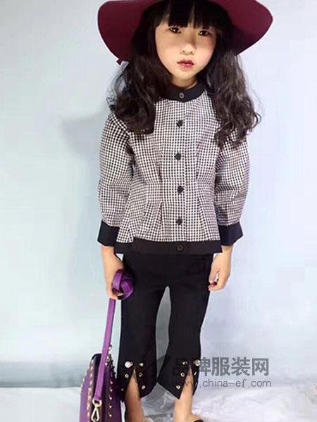 比奇童话童装秋冬格纹收腰外套