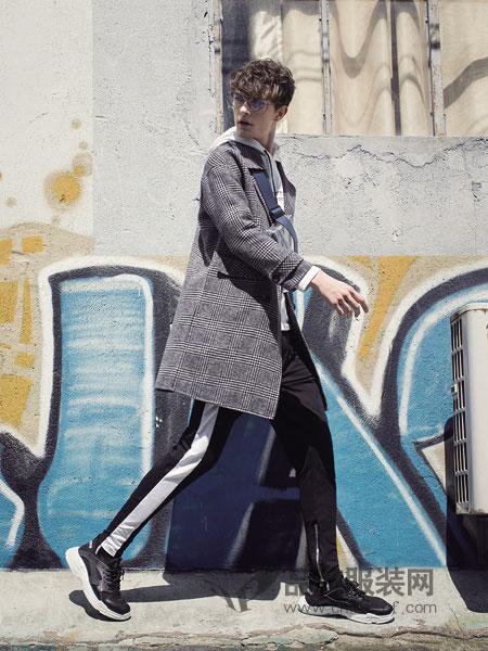 左男装2018秋冬韩版修身西装领风衣中长款外套