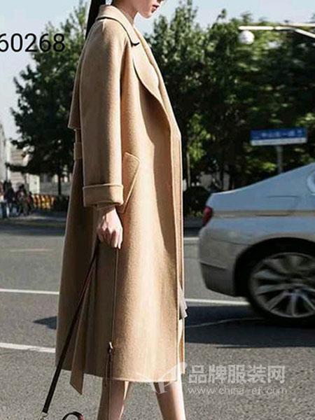 子恒国际女装2018秋冬毛呢外套翻领纯色腰带修身中长款呢子大衣
