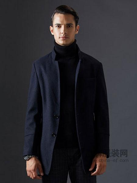 虎都男装2018秋冬商务纯色毛呢外套