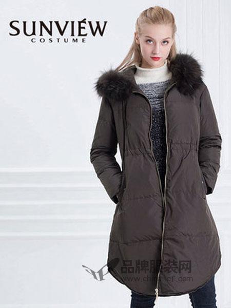 SUNVIEW女装2018秋冬优雅束腰双面呢羊毛大衣外套