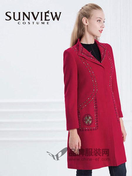 SUNVIEW女装2018秋冬气质翻领刺绣中长款羊毛外套