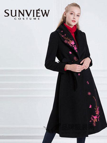 SUNVIEW女装2018秋冬气质束腰长袖羊毛大衣