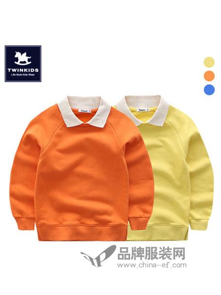 TWINKIDS童装2018秋冬翻领卫衣韩版儿童长袖T恤