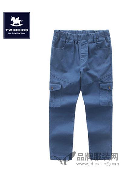TWINKIDS童装2018秋冬工装大口袋松紧腰休闲长裤