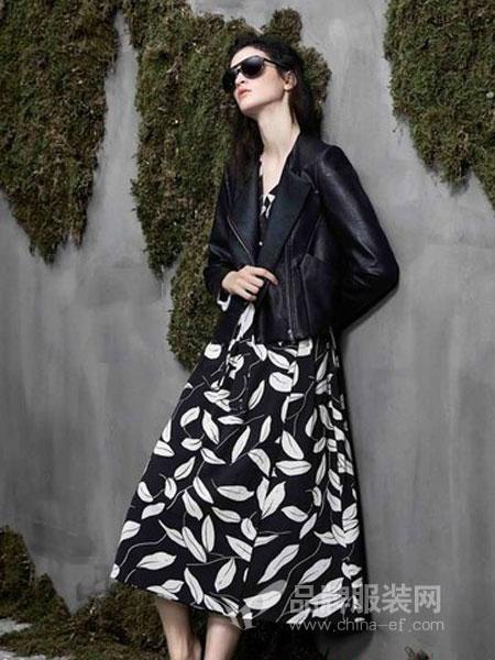 阿莱贝琳女装2018秋冬修身显瘦印花通勤气质中裙连衣裙