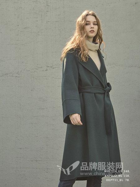 PINBLACK女装2018秋冬中长款西装领简约修身腰带风衣外套
