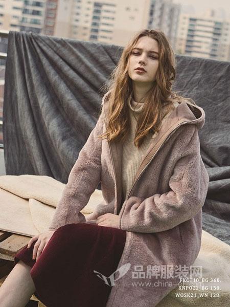 PINBLACK女装2018秋冬新品羊毛两面穿连帽大衣外套