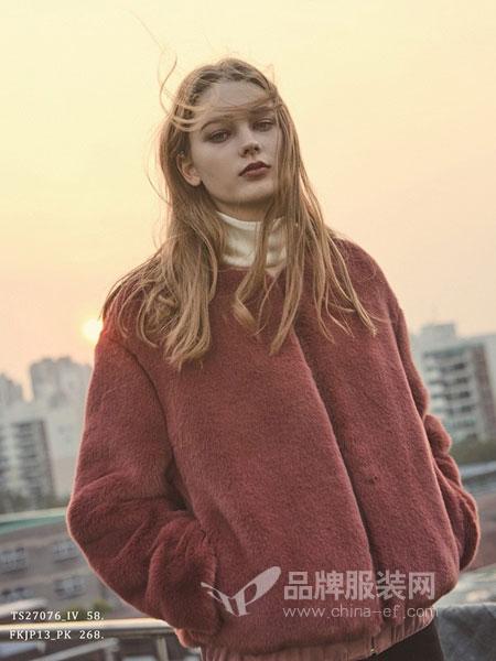 PINBLACK女装2018秋冬保暖百搭人造皮草外套