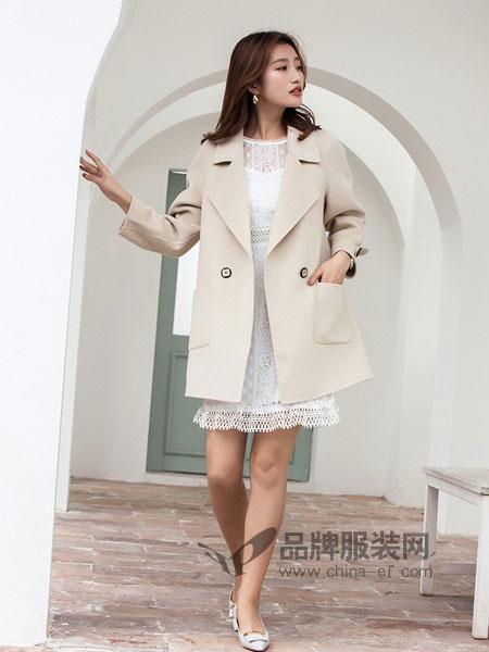 广州市歌玖兰服饰有限公司2018秋冬韩版水钻长袖纯色双面羊绒大衣