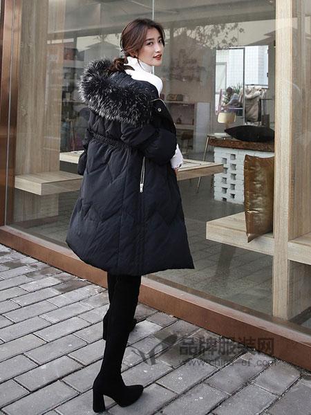 广州市歌玖兰服饰有限公司2018秋冬韩版公主袖大毛领中长款修身羽绒服